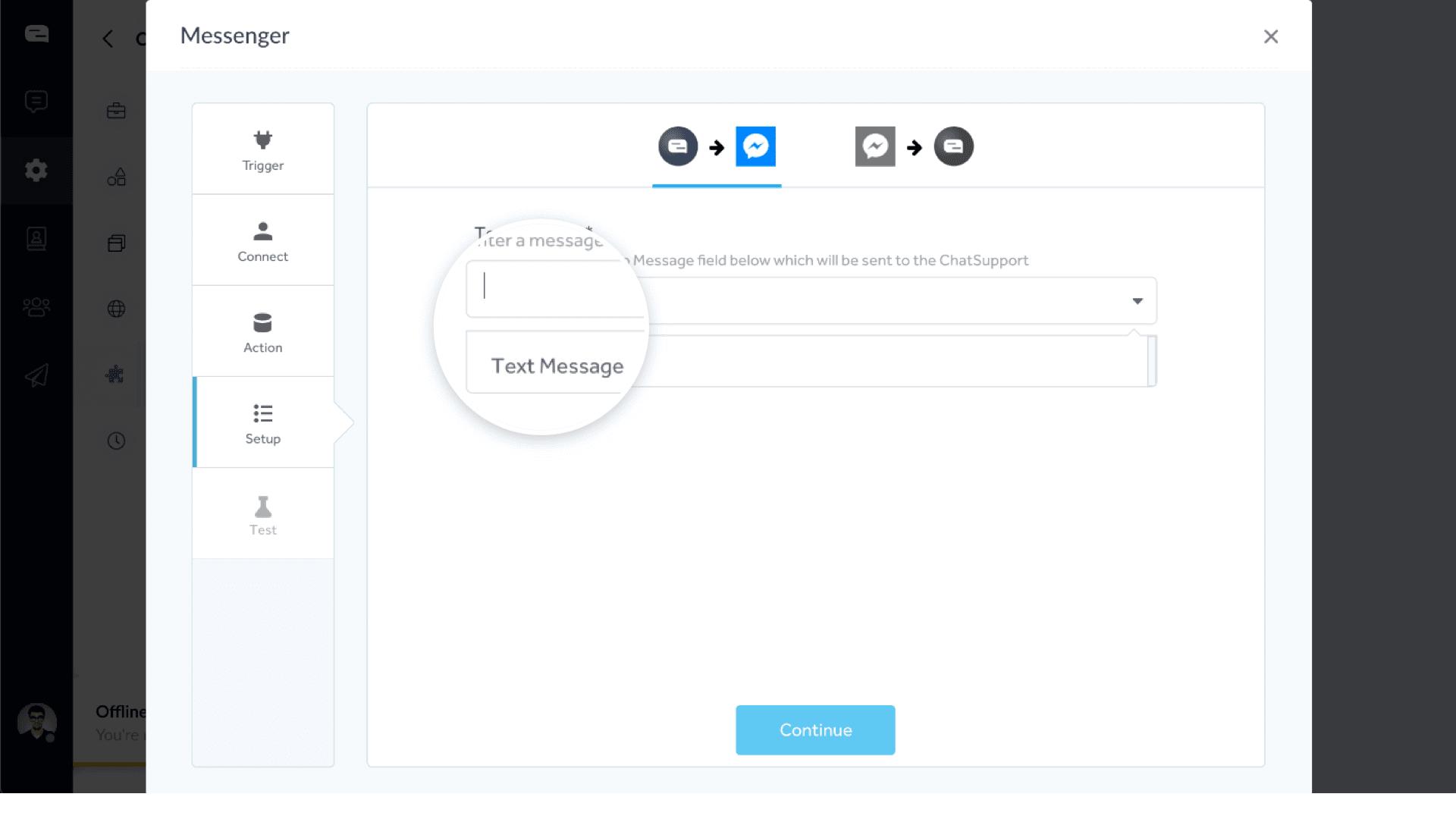 Text message dropdown under chatsupport messenger integration setup.