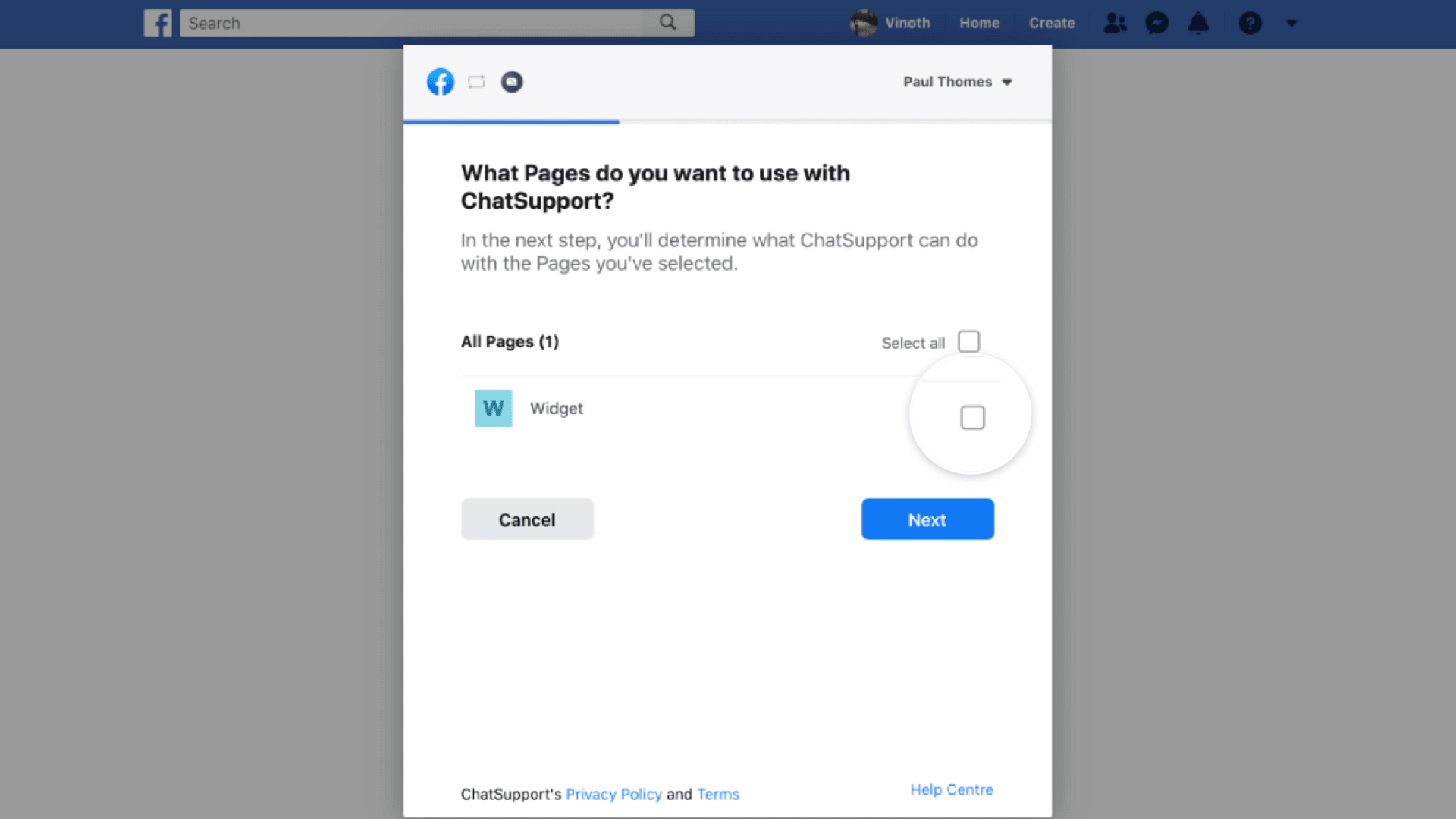 facebook settings to select the pages to use with chatsupport.