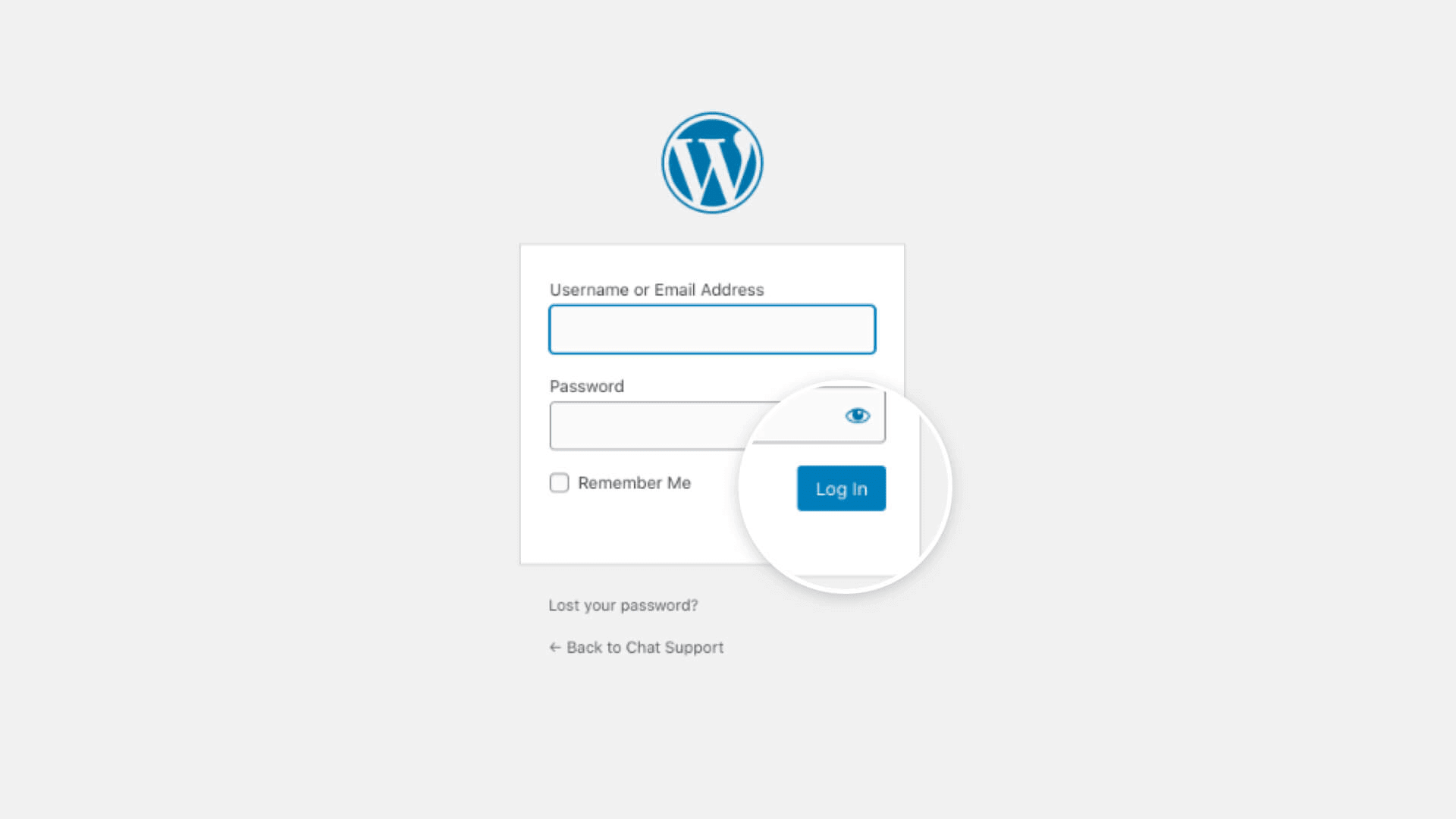 The WordPress login page to enter the email address and password