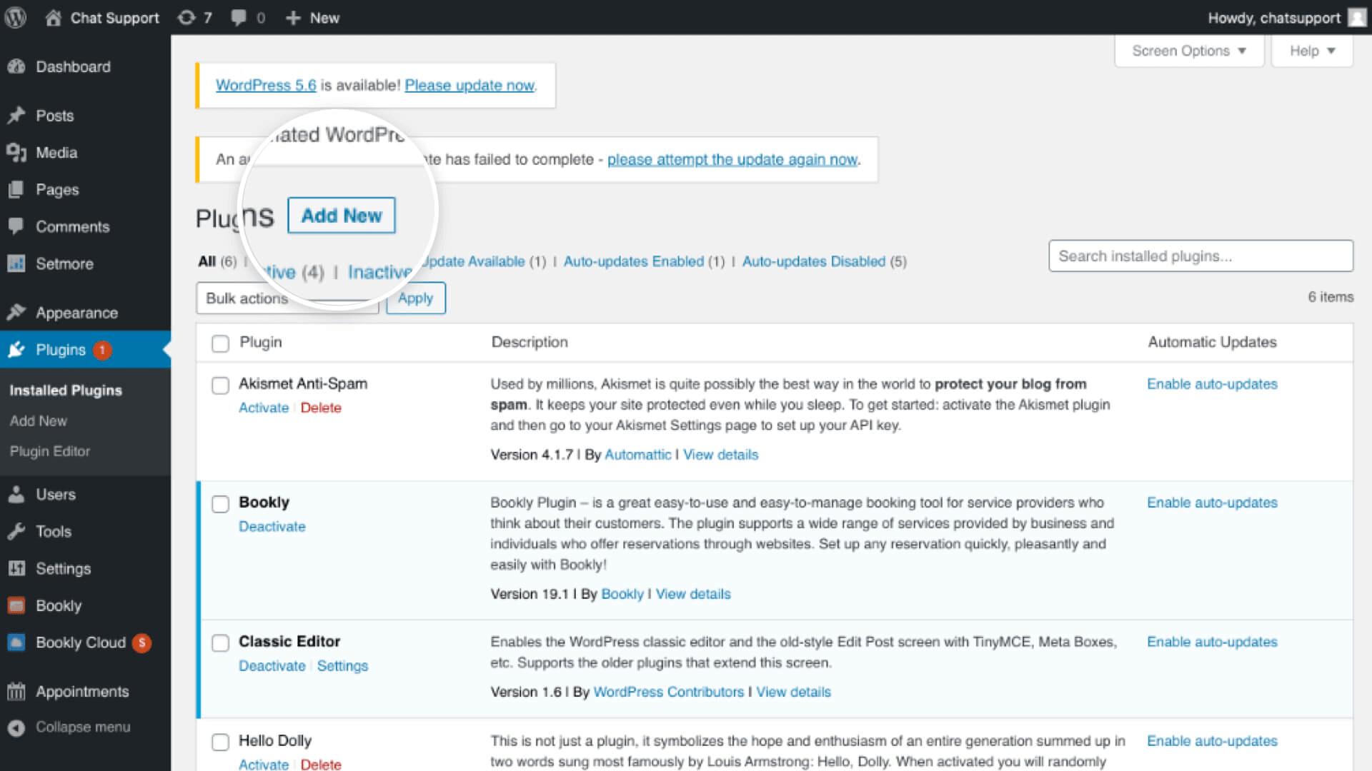 The Wordpress plugins tab showing options