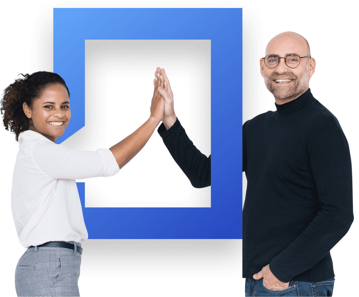 two people high fiving in a blue square